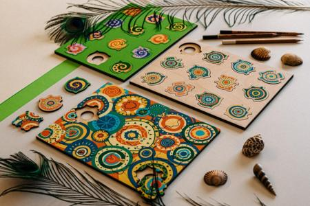 Drevené puzzle DOTO - Mandala