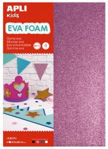 EVA FOAM trblietavé A4 - 4ks (čierna,fialová,modrá,biela)