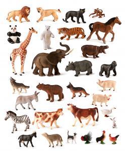 Zvieratá z farmy a džungle - 30 ks